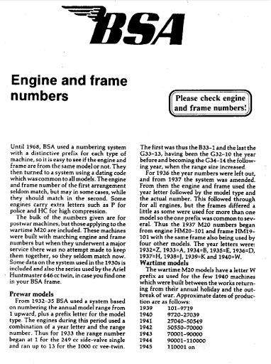 Les numéros de série des BSA dans un document Machines et Moteurs