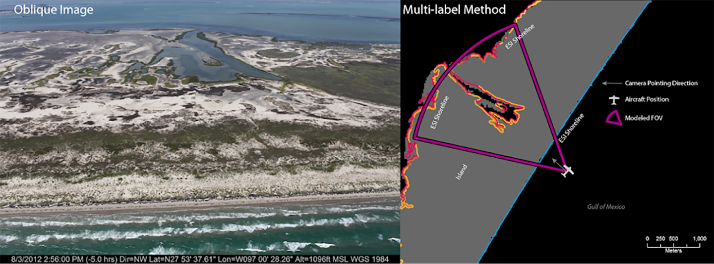 Map illustrating the multi-label method of ESI shoreline label extraction using modeled field-of-view (FOV) of the camera and the image taken from the aircraft's position on the map (Note: this method allows for the majority of the shorelines in the FOV to be assigned to this image).