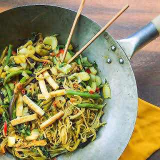Vegetable and Soba Noodle Stir Fry with Peanut Sauce.