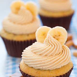 Banana Cupcakes with Salted Caramel Peanut Butter Frosting.