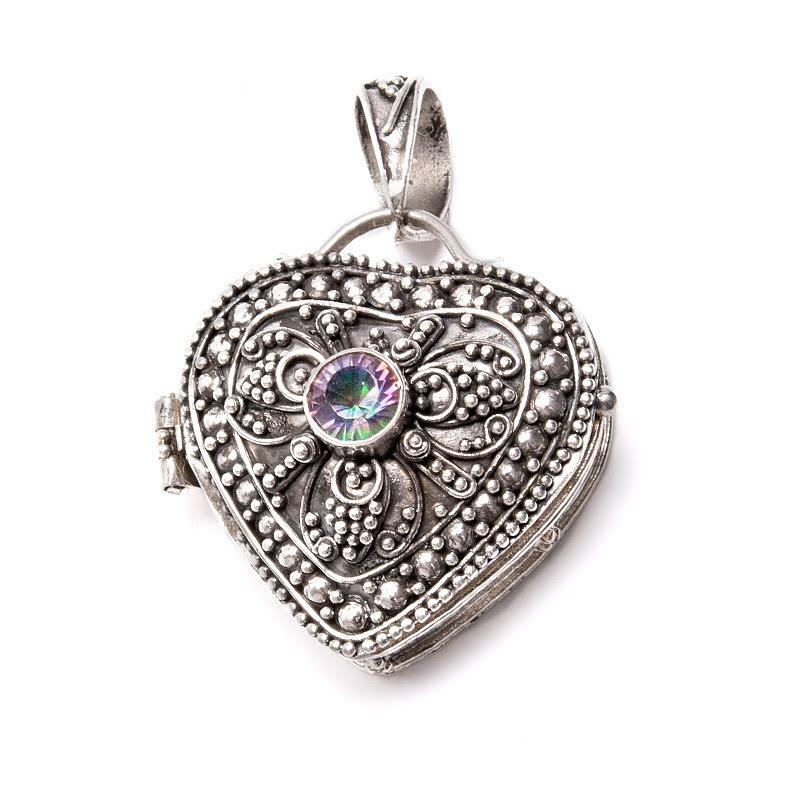 Medaljong, magisk topas hjärta som silverhänge
