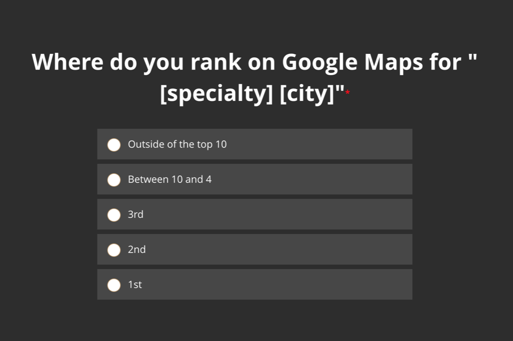 Where do you rank on Google Maps for your specialty in your city?