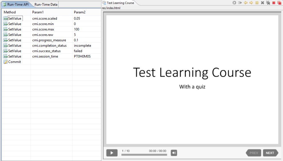 Logging the launch of an iSpring Test Learning Course with Trident Runtime Environment.