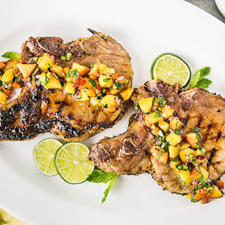 Ginger & Honey Glazed Pork Chops with Peach-Poblano Salsa
