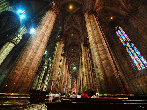 The interior of the Duomo di Milano in Milan, Italy.
