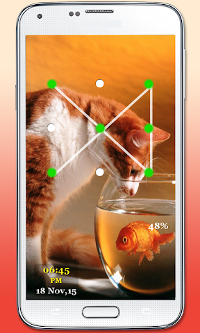 android Kitty Cat Pattern Lock Screenshot 2