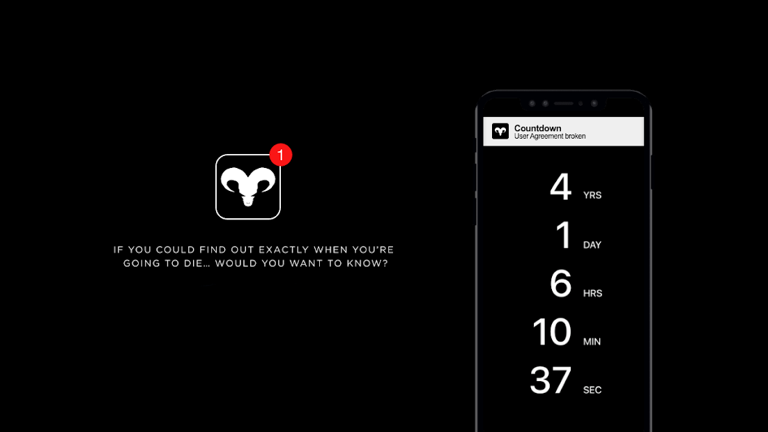 Countdown App - Death? There's an app for that. Android App Screenshot