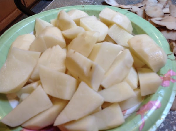After the first 1 1/2 hours of cooking add the peeled & cut potatoes,...