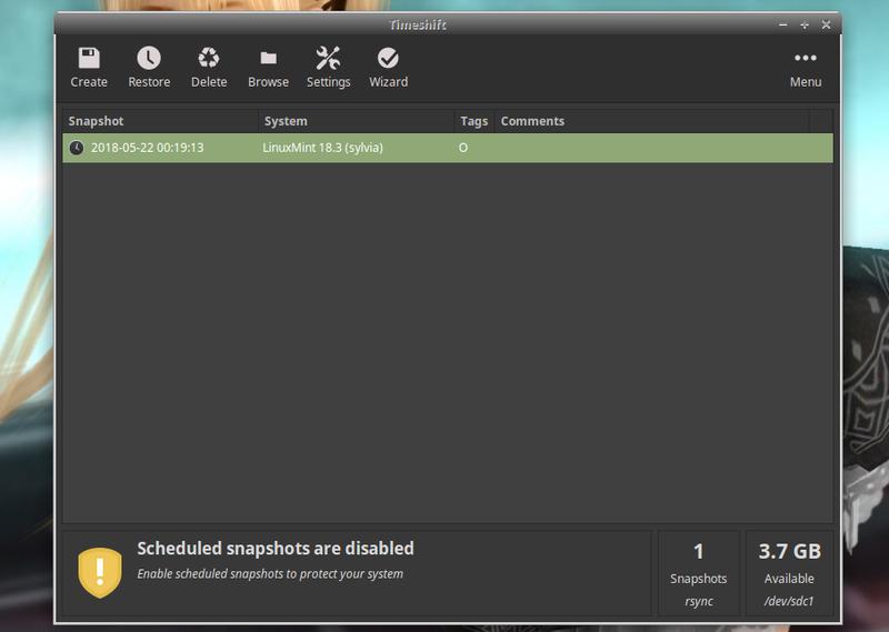 Linux Mint 18 3 : 「Timeshift」を使ってバックアップ(復元
