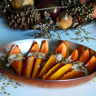 Roasted Butternut Squash with Tahini and Pine Nuts