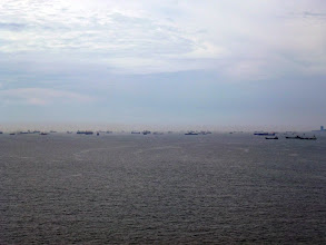 Photo: Many ship waiting to enter Istanbul, a very busy port.
