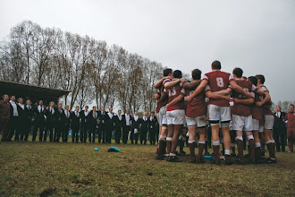 Photo: Stott Field - singing Shosholoza after 1st team rugby victory