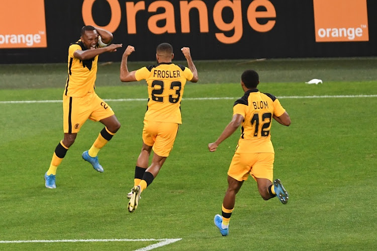 Bernard Parker of Kaizer Chiefs celebrates scoring a goal during the CAF Champions League match between Kaizer Chiefs and Wydad Athletic at FNB Stadium on April 03, 2021 in Johannesburg, South Africa.