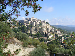 "Photo: Our first view of Gordes, one of the hillside towns [les villages perchés] of Provence. It is a stunning scene on a lovely day, and would have to be the greatest single ""wow!"" moment of our trip."