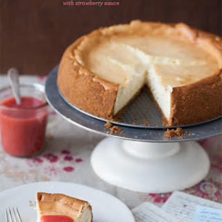 Elaine's New York Cheesecake with Strawberry Sauce.
