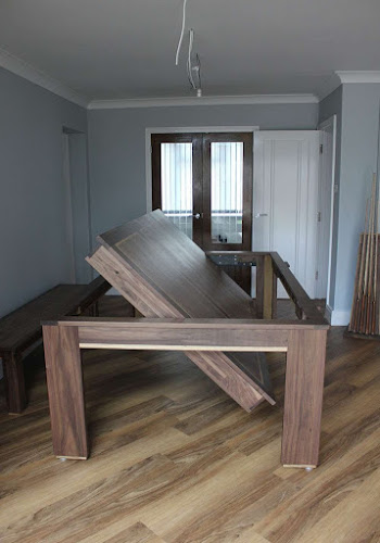 Rotating Pool Dining Table - Dark wood