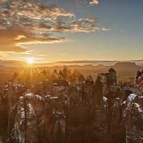 Winter Wonderland in gold by Torsten Funke - Landscapes Sunsets & Sunrises ( traveling, sunrises, travelling, landscape photography, travel, sunrise, landscapes, landscape, travel photography, photooftheday )