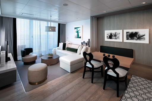 The living room of an Edge Villa stateroom on Celebrity Edge.