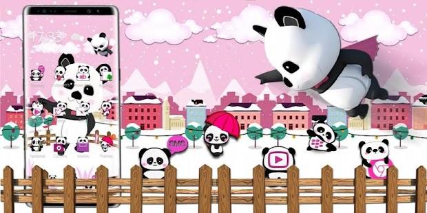 3d pink super panda theme - náhled