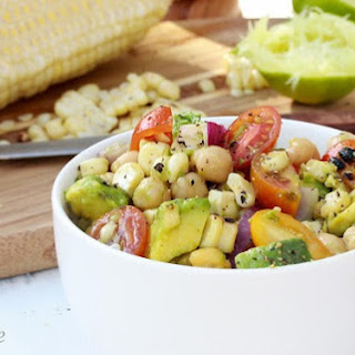 Grilled Corn Salad with Avocado, Tomato and Lime.
