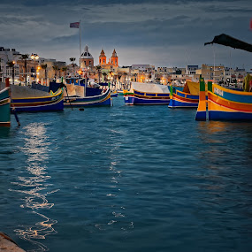 Evening in Marsaxlokk, Malta by Michaela Firešová - City,  Street & Park  Historic Districts ( harbour, city, malta, boats, evening, lights )