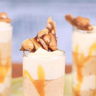 Peanut Butter White Chocolate Mousse with Caramel Drizzle.