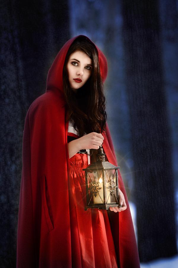 Lil Red by Glenn Riegel - People Portraits of Women ( lantern, red, grimms fairytale, winter, brunette,  )