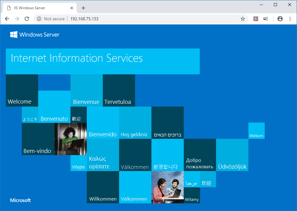 Windows Server 2019 IIS default web page