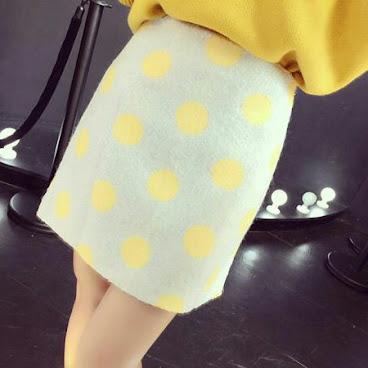 💝包邮2015冬装韩国新款短款高腰毛呢半身裙毛呢短裙A字裙波点包臀裙女💝