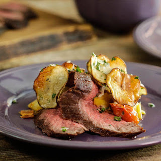 Sliced Steak with BLT Sauce with Truffle Oven Potato Chips