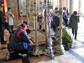 Photo: The Stone of Unction--this is where Christ's body was anointed and wrapped for burial after death.