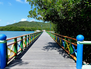 Photo: The bridge between the port town of Santa Isabel and the small island of Santa Catalina