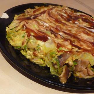 Bacon, mushroom and vegetable okonomiyaki (Japanese omelette)