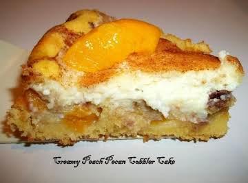 Creamy Peach Pecan Cobbler Cake