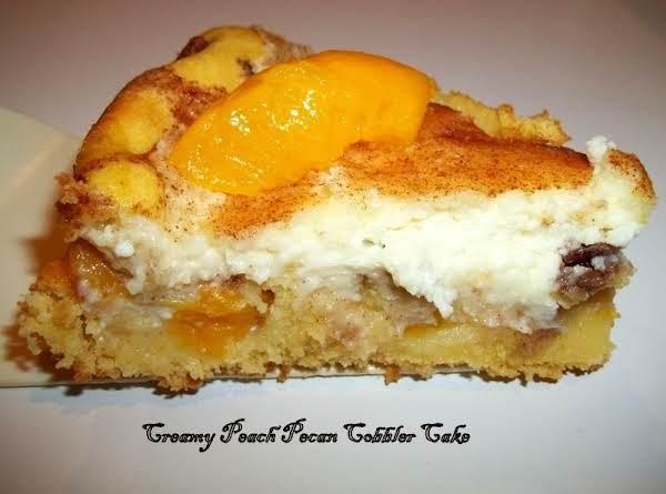 Creamy Peach Pecan Cobbler Cake Recipe