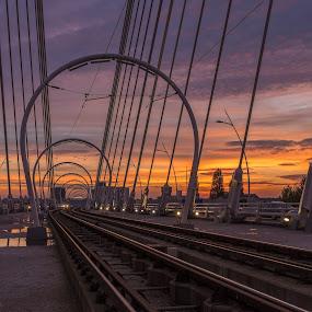 Sunset on the bridge by Nitescu Gabriel - Landscapes Travel ( clouds, scape, sunset, fujifilm, lanscape, bridge,  )
