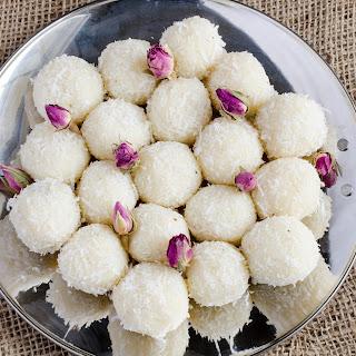 Coconut Ladoo with Rose Petals Jam.