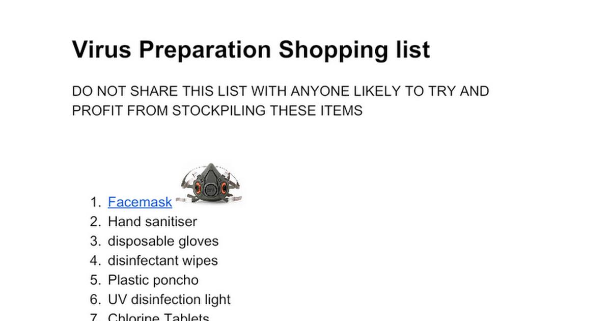 Virus Preparation Shopping List