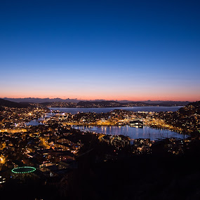 Bergen at sun down by Steven Snoots - Landscapes Sunsets & Sunrises ( sunset bergen olympus lowlight moon reflections beautiful )