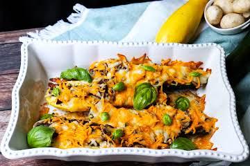 Roasted Stuffed Zucchini & Summer Squash