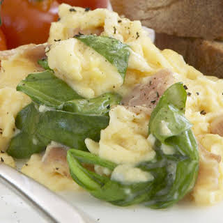Creamy Scrambled Eggs with Pancetta and Spinach.