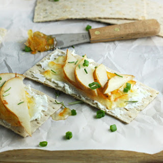 Rosemary Crackers with Pear, Goat Cheese and Orange Marmalade.