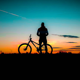 Ride into the sunset by Antonio Knezevic - People Street & Candids ( sky, plane, sunset, mtb, sun, bike )