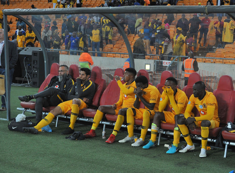 Kaizer Chiefs bench cut a dejected look during the MTN8 semifinal second leg match against SuperSport United on September 1 2018 at FNB Stadium.