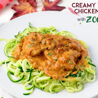 Creamy Tomato Chicken Thighs With Zoodles.