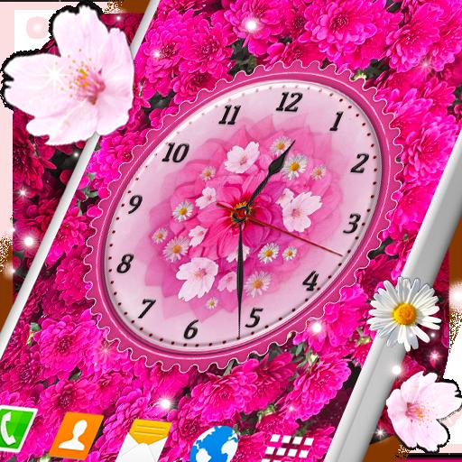 Flowers Analog Clock Live Wallpaper