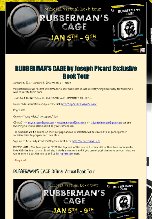 RUBBERMAN'S CAGE by Joseph Picard Exclusive Book Tour