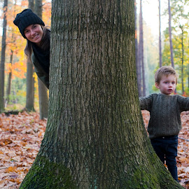 Let's play together by Paula NoGuerra - People Family ( mother, son, fall, tree, playing, autumn, portrait, family, people, motherandson )