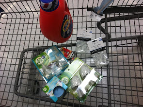 Photo: I only ended up getting my Air Wick products, batteries, detergent, tension rod and curtain hooks.