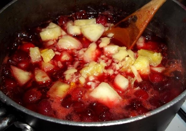 Now, stir in the fresh ginger, candied ginger and pineapple. Cook another 5 minutes...